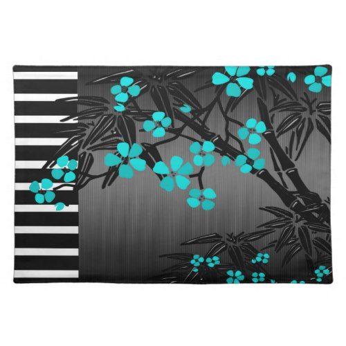 Elegant Teal Blue Blossom Black Asian Bamboo Placemat | Zazzle.com