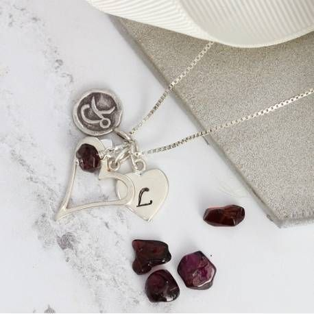 sterling silver open heart necklace personalised with letter charm and birthstone gemstone. The perfect gift for her
