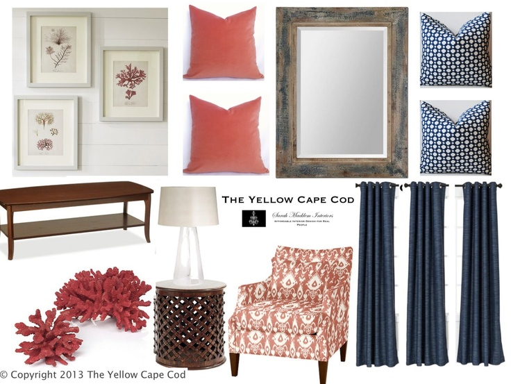 The Yellow Cape Cod: Navy And Coral Family Room    I Am In Love With Those  Arm Chairs Part 41