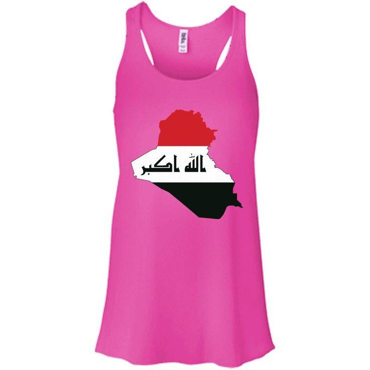 iraq flag-01 B8800 Bella + Canvas Flowy Racerback Tank