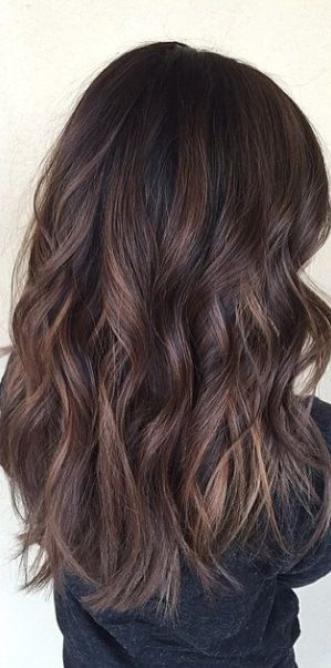 dark brunette balayage highlights                                                                                                                                                      Más