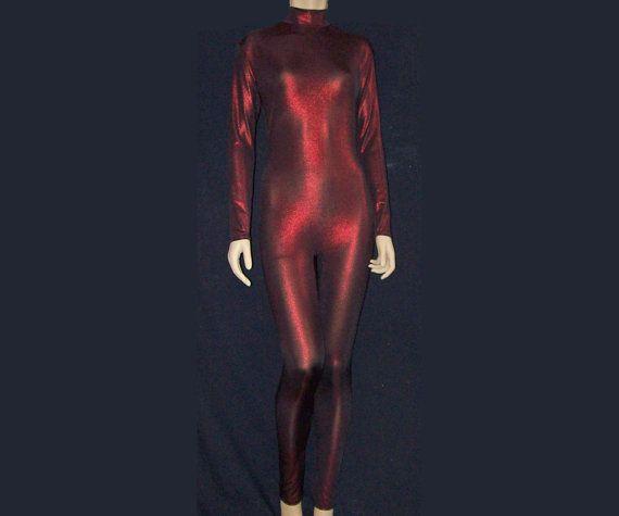 Metallic Dark Red on Black Stretch Spandex Unitard by NinaCorrea