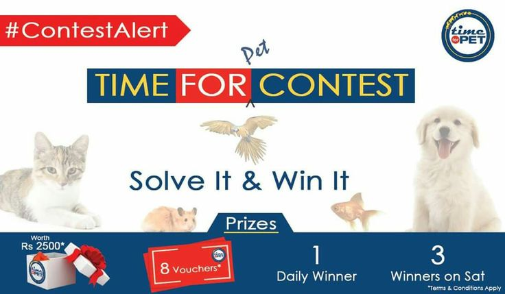 """Hi All, """"It's Time For Contest"""" for all pet lovers, we bring you an exciting contest to win amazing gifts and vouchers for your lovable pet. Click here to read the terms & conditions for participation:http://bit.ly/2egvVrz All the best! #timeforpet #contest #contestalert #timeforcontest"""