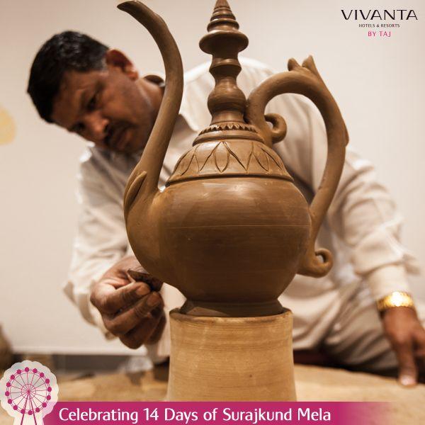 #Day5 Play a potter and give birth to a masterpiece at Folk Studio, Vivanta by Taj - Surajkund. Know more: http://on.fb.me/1ztW38e #Pottery #Art #Craft #SurajkundMela #VivantabyTaj #Creativity