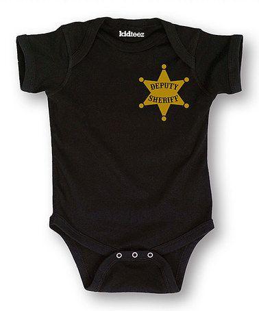 Black 'Deputy Sheriff' Badge Bodysuit - Infant #zulily #zulilyfinds
