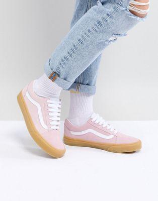 02d070eec80e1c Vans Old Skool Pastel Pink Sneakers With Gum Sole