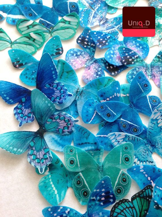 new teal mint edible butterflies - BUY 50 get 8 FREE wedding cake decorations - turquoise wedding - cake toppers by Uniqdots on Etsy