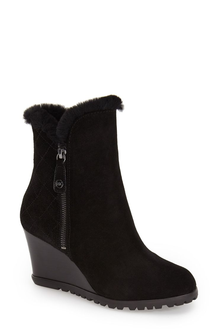 Michael Michael Kors 'whitaker' Water Resistant Wedge Bootie With Genuine  Shearling Cuff & Lining