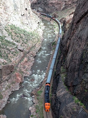 Royal Gorge, CO...We enjoyed a wonderful dinner and then went back to the open air car to be amazed by the breathtaking beauty of this canyon/river!