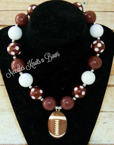 Girls Football Brown and White Chunky Bead Bubblegum Necklace, Girls Jewelry, Football Necklace, Girls Necklace
