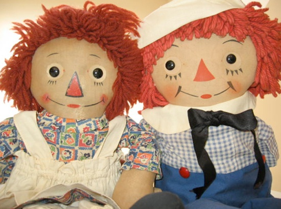 Raggedy Ann and Andy--hand made gifts from Aunt Helen and Uncle Al...they were beautiful...