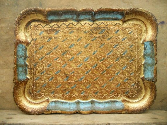 Vintage wood Florentine Tray Hand Painted tray