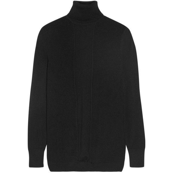 Cushnie et Ochs Paneled ribbed merino wool turtleneck sweater (13.995 RUB) ❤ liked on Polyvore featuring tops, sweaters, rib top, ribbed turtleneck sweaters, merino turtleneck, merino top and merino wool sweater