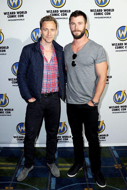 Tom Hiddleston and Chris Hemsworth of 'Thor' on day 3 of Wizard World Comic Con Philadelphia