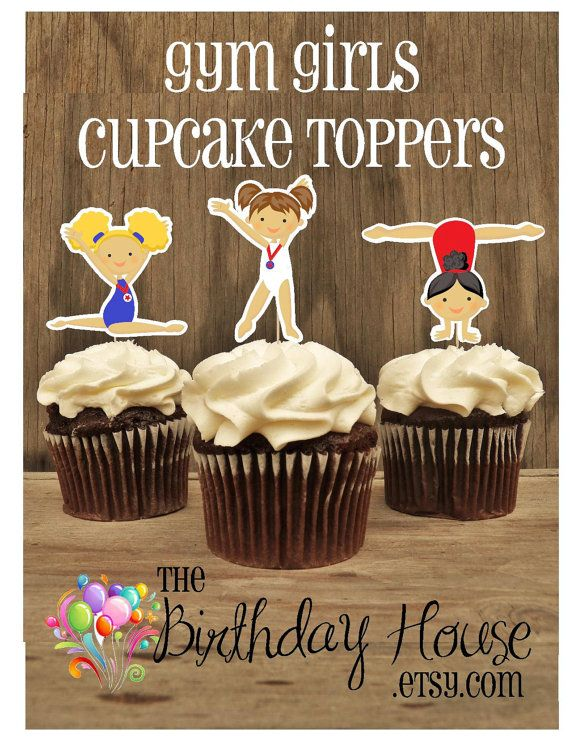Gym Girls Party Collection    Custom cupcake toppers printed in photo quality on heavy cardstock. Each cupcake topper is hand assembled and