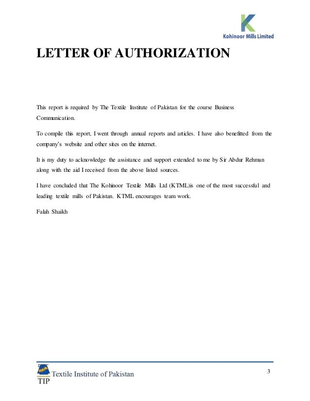 research report kohinoor textile mills pldt authorization letter - letter of authorization form