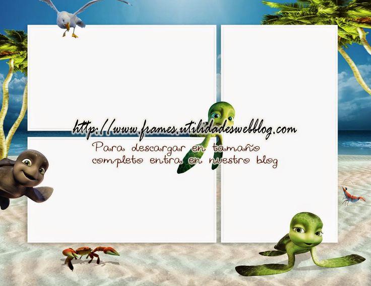 Marco infantil para colocar 3 fotos inspirado en las aventuras de Sammy la Tortuga