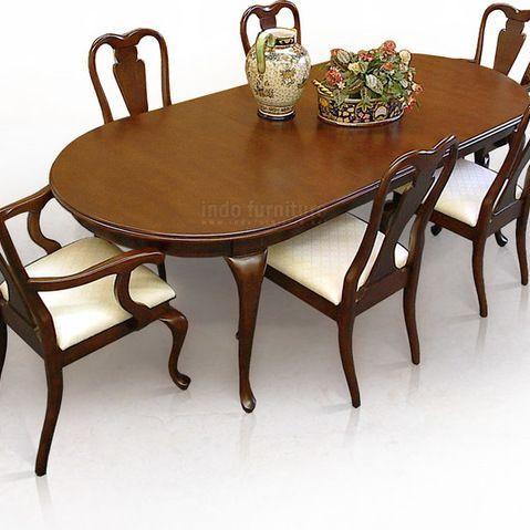 Meja Makan - Set Meja Makan Ratu Anne ini mempunyai kontruksi yang kokoh, bahan dasarnya adalah menggunakan kayu solid mahoni, Finishing/ se...