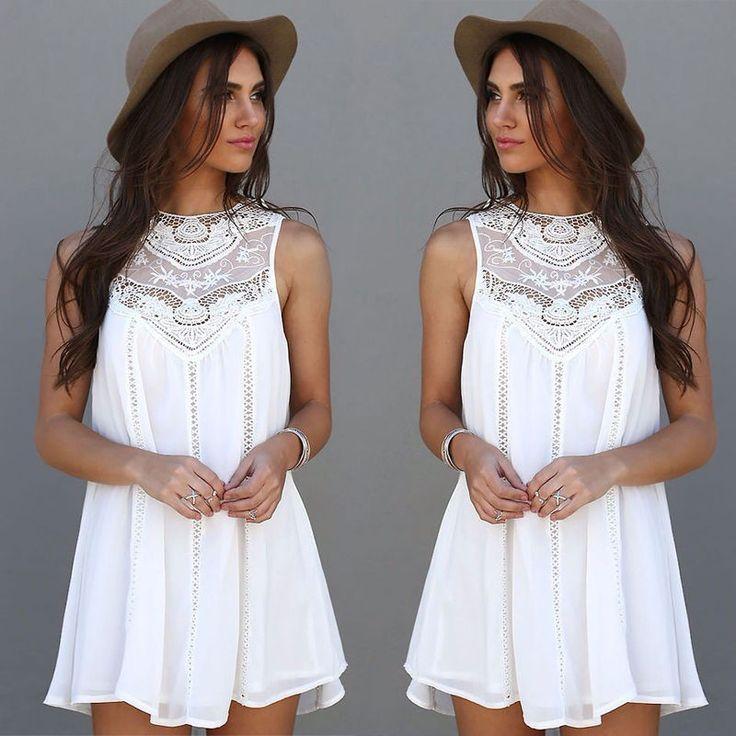 Summer Dress 2016 Sexy Women Casual Sleeveless Beach Short Dress Tassel Solid White Mini Lace Dress Vestidos Plus Size