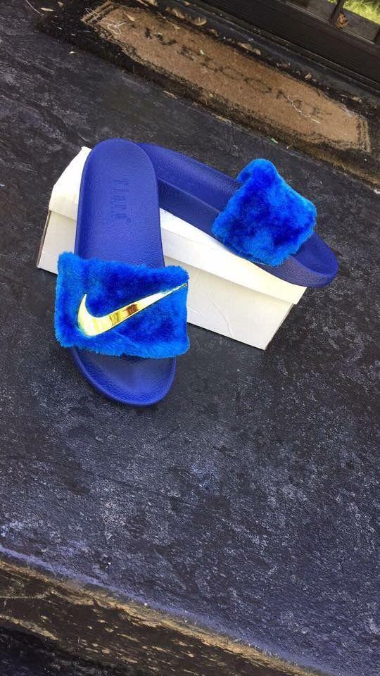 Nike slides royal blue and gold