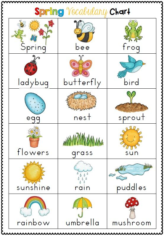 36 Spring themed vocabulary cards with large images and text to match and vocabulary chart for writing centers