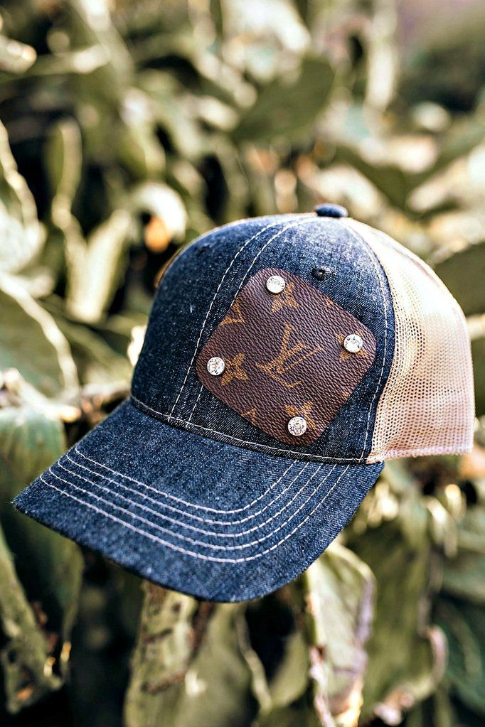 cc163710dc4 Authentic Re-purposed LV Patch Denim Hat with Swarovski Crystals ...