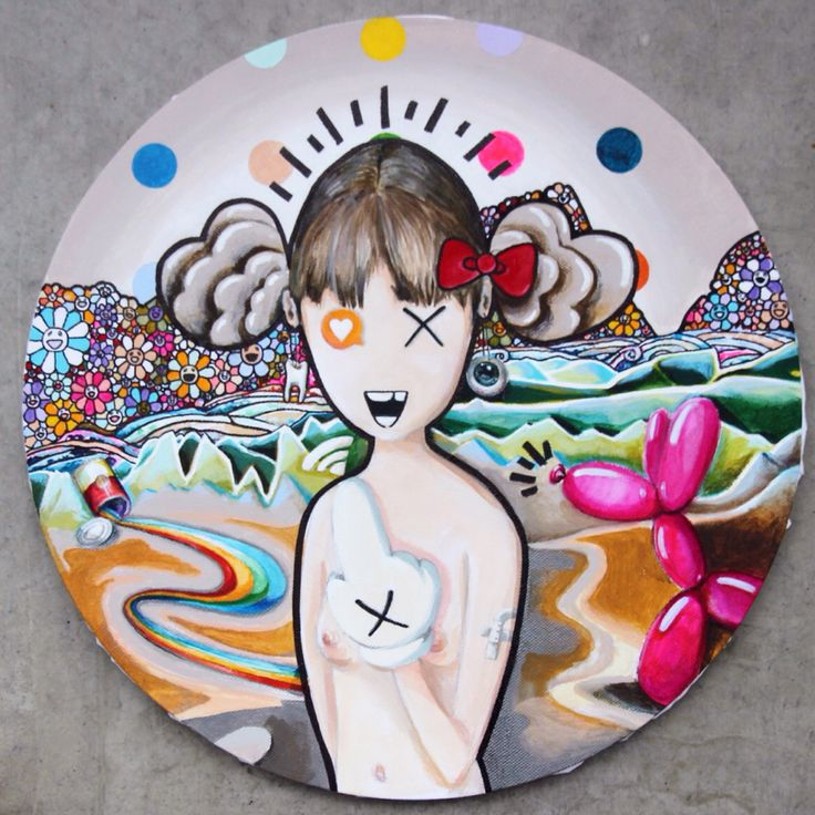 """MONA LISA CHANGED HER PROFILE PHOTO"" tondo, 40cm, acrylic on canvas, compilation/found footage of motifs from pop art and pop culture #leonardodavinci #damienhirst #takashimurakami #keithharing #andywarhol #KAWS #jeffkoons"