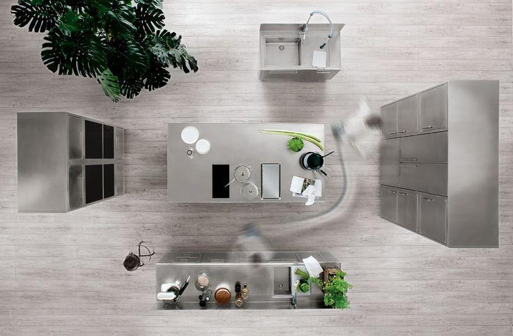 Küche aus Edelstahl für Gewerbe EGO by ABIMIS by PRISMA | Design Alberto Torsello