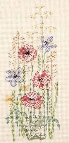 Summer Panel Blackwork Kit from Derwentwater Designs