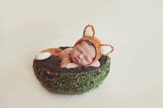 Newborn fox hat and tail set. Fox. Newborn fox photo prop.  Available on Etsy visit Crochet Harvest. www.facebook.com/crochet.harvest #newbornfoxhat #newbornfoxbonnet #foxphotoprop