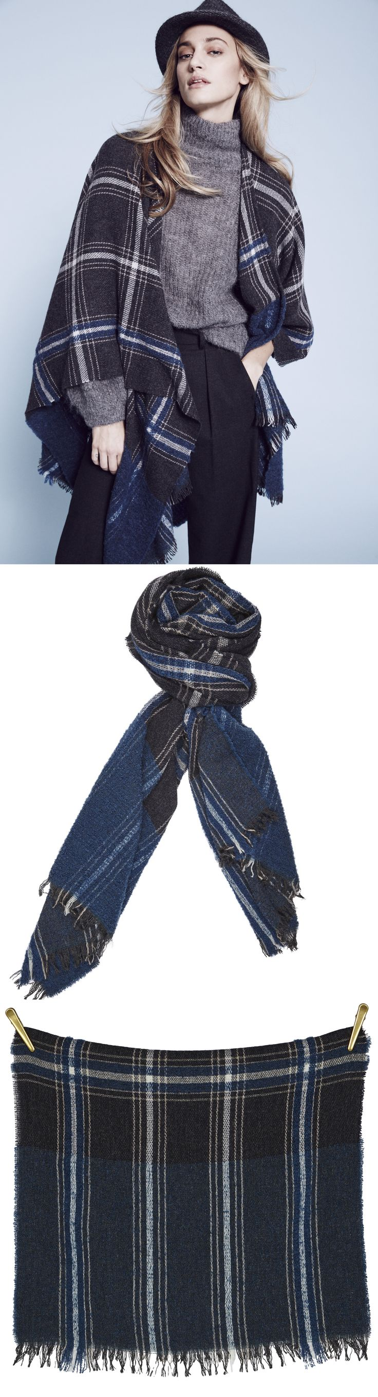 CHECK IT OUT BellaBallou woven scarf | Blue/Grey size 58x200 cm wool modal polamide #aw16 #fashion #poncho feel #blue