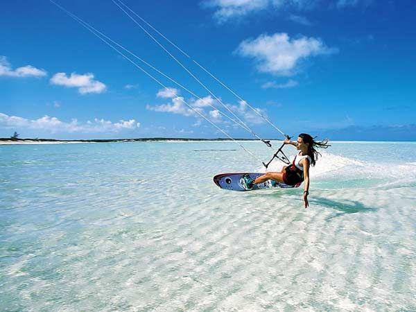 Kitesurf sur le lagon de l'île Maurice