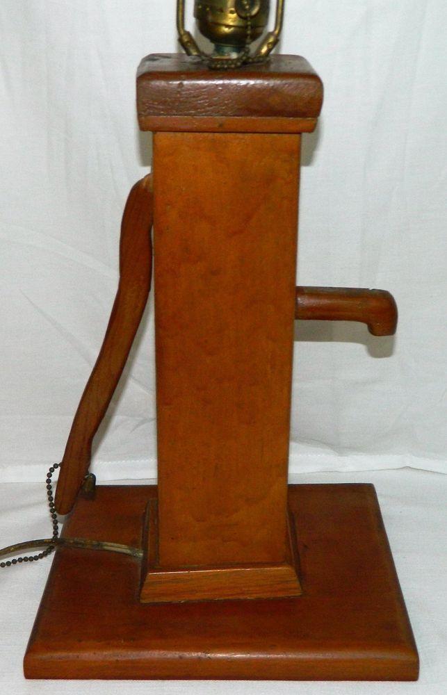 Wooden Hand Water Pump Shaped Vtg 23 Quot Lamp Light Farm