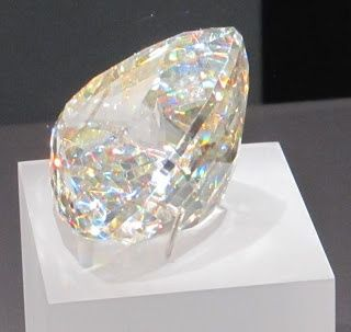 """Light of the Desert"", the world's largest faceted Cerussite gem (898 carats), Royal Ontario Museum. Cerussite is one of the only gems with adamantine (diamond-like) luster."