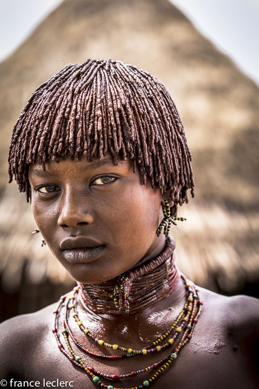Africa | Portrait of Hamar young woman, Omo Valley, Ethiopia | ©France Leclerc…