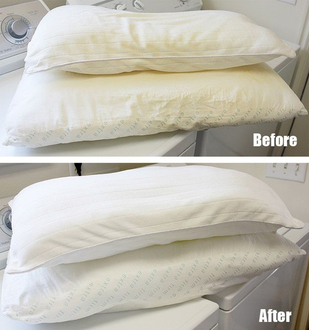 Get the sweat and face gunk off your pillows with bleach and hot water. | 42 Seriously Useful Tips Every Clean Freak Needs To Know
