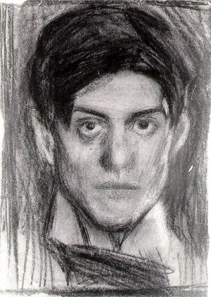 """Pablo Picasso self-portrait drawing, 1900. From """"100 Self-Portrait Drawings from 1484 to Today"""""""