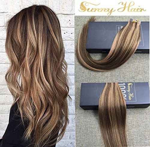 Sunny 18″ Brazilian Straight Human Hair Dark Brown Highlight with Strawberry Blonde 20pc 50g Double Sided Seamless Tape in Remy Hair Glue in Hair Extensions