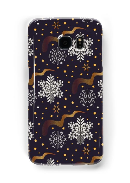 white snowflakes with golden waves and stars on dark background • Also buy this artwork on phone cases, apparel, stickers, and more.