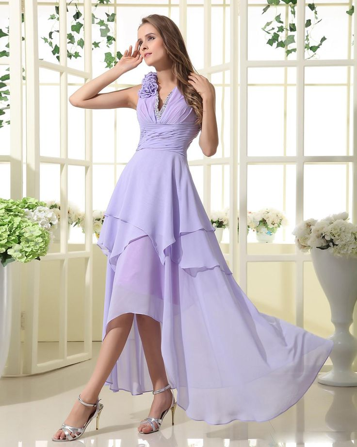 Halter High-low Chiffon Dress With Beaded Neckline