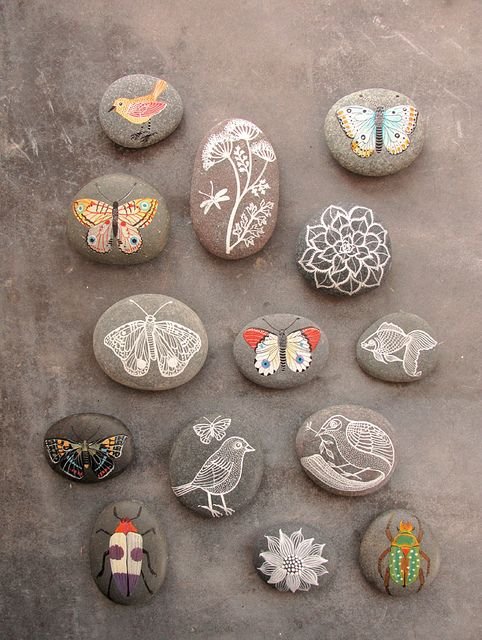 paint or stamp a stone. they would make great magnets