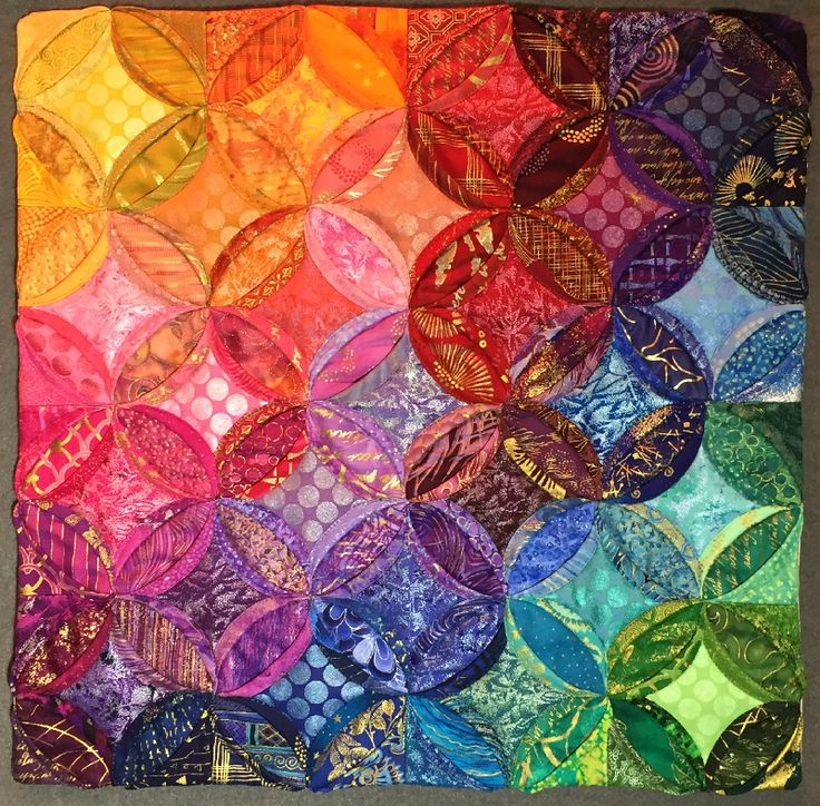 "Cathedral Window Color Play, 16 x 16"",  by Lisa Ellis. Quilt Alliance benefit auction 2016."