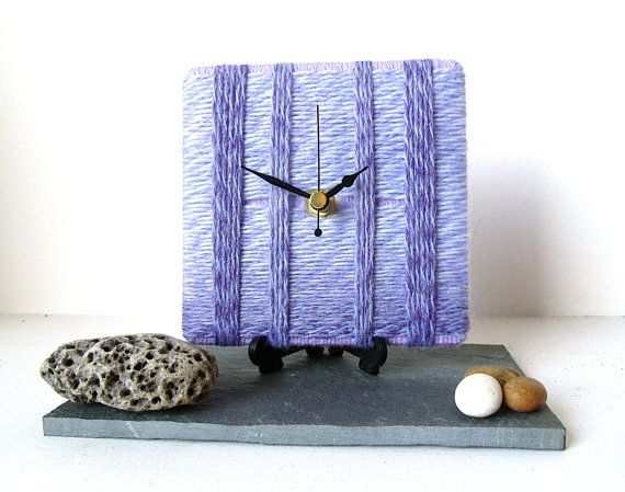 Wool Desk Clock / Small Wall Clock Marbled Lilac by NaturalClocks