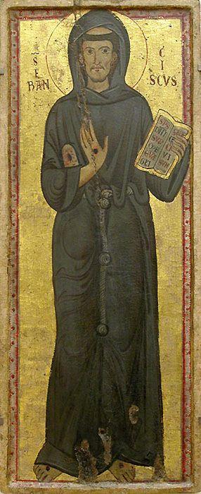 Saint Francoise d'Assise,  m. inconnu, Rome (Italie), vers 1225-1250, bois, fond d'or, Paris,  Musée du Louvre