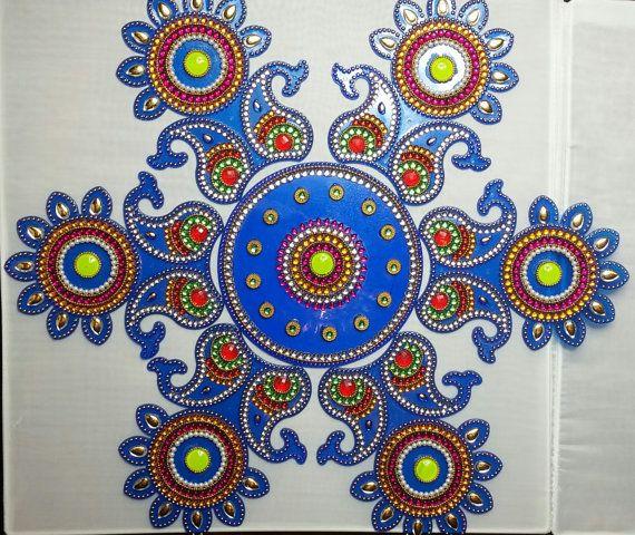 Diwali decoration Rangoli Navratri Thali decor by MinasStyles