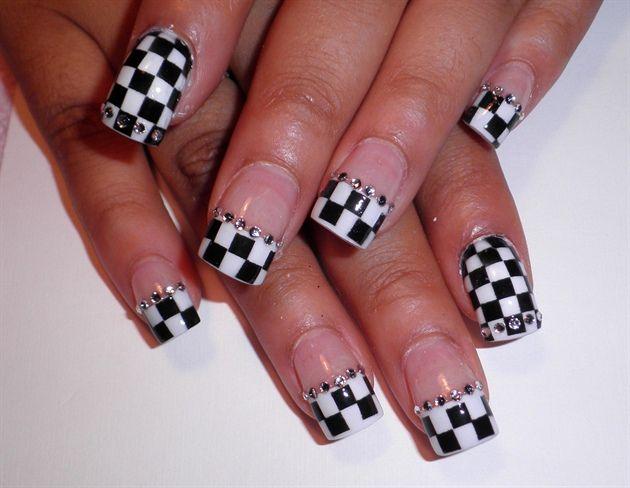 Checker French Nail Art by Pilar - Nail Art Gallery nailartgallery.nailsmag.com by Nails Magazine www.nailsmag.com #nailart