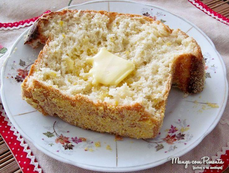 Pão de Milho Verde Fresco, para dar bom dia a mamãe no Dia das Mães. Para ver a receita, clique na imagem para ir ao Manga com Pimenta.