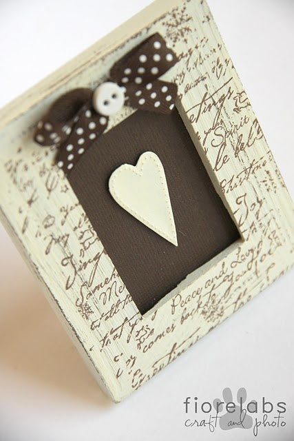 papered frame/modge podge heart