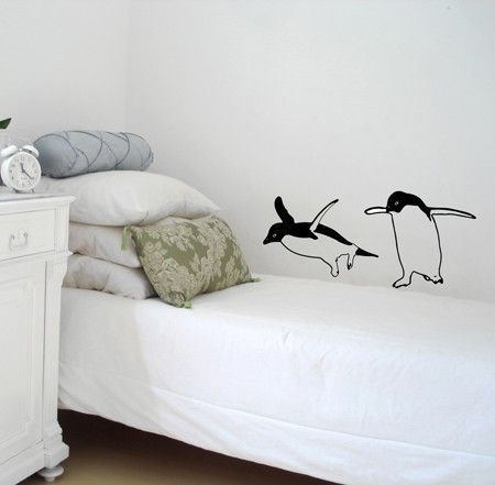 Two Funny Penguins  Wall Decal by vinylwalldesign on Etsy, $26.00