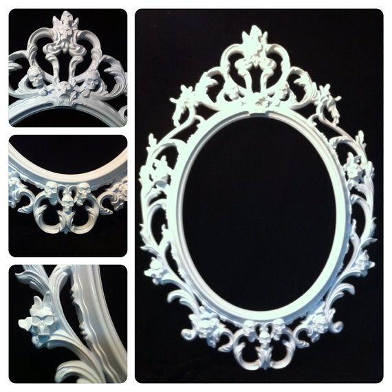 Brillant crâne blanc ovale photo cadre miroir Shabby Chic Baroque gothique victorienne tatouage
